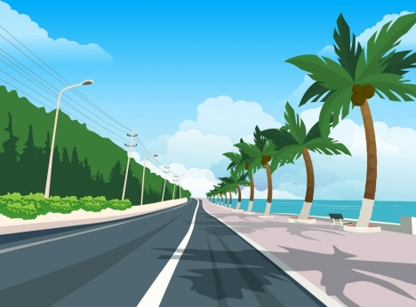 sea road scenery painting multicolored modern design