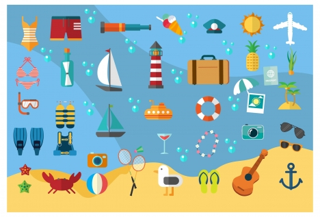 sea travel vector illustration with colored flat icons