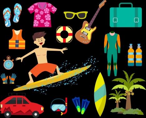 sea trip accessory icons colored design