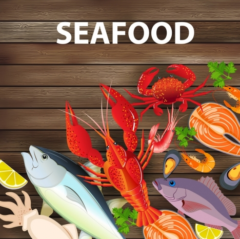seafood advertising various colorful species icons decoration