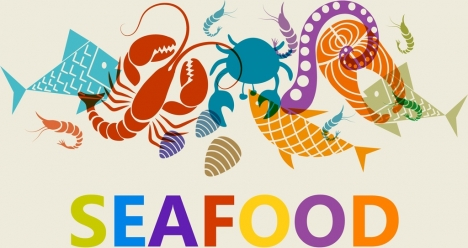 seafood background colorful marine species icons flat sketch