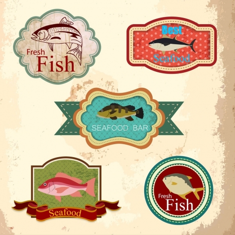 seafood labels collection various retro shapes isolation
