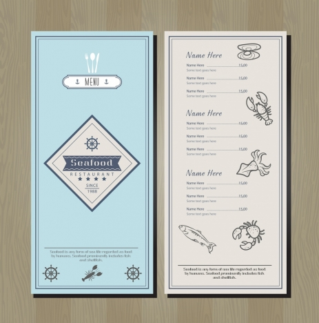 seafood menu template marine species icons decor