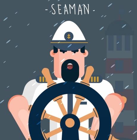 seaman job drawing man steering wheel lighthouse icons