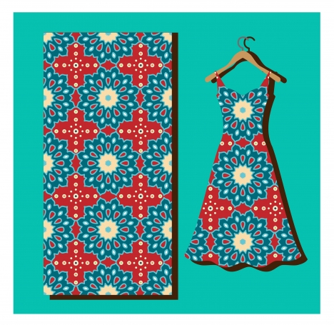 seamless pattern on silk and dress vector illustration