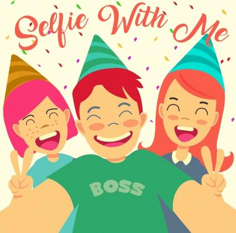 selfie banner joyful youth icons cartoon design
