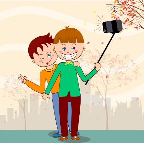 selfie drawing people camera icons cute cartoon design