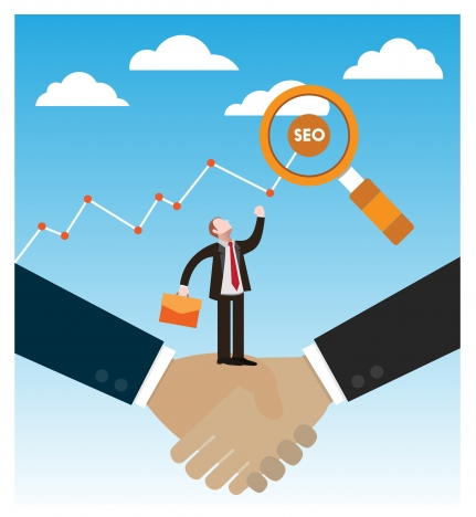 seo concept vector illustration with businessmen and handshake