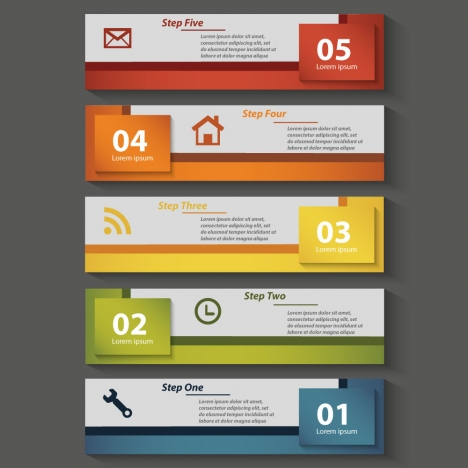 sequence infographic diagram design with horizontal banners template