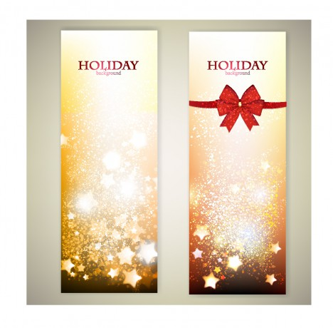 Set of Elegant Christmas banners with stars