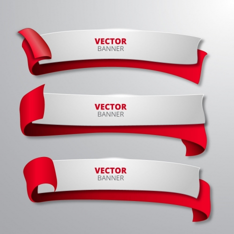 sets of 3d banners vector with curved ribbons