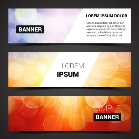 sets of banners design on bokeh background