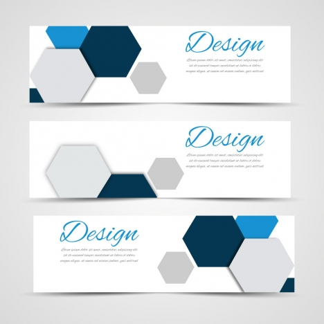 sets of banners design on hexagon background