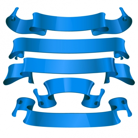 sets of blue ribbon banners for promotion