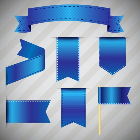 sets of blue silky ribbons on striped background