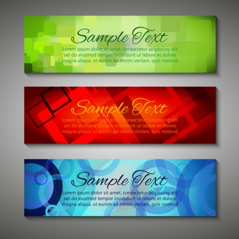 sets of various colorful abstract banners design
