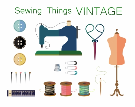 sewing things collection design with vintage style
