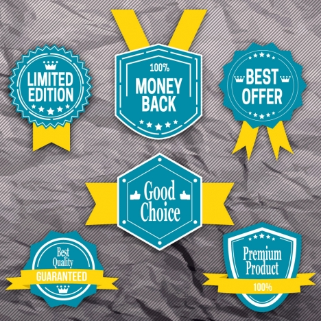 shaped sale promotion labels sets on wrinkle background