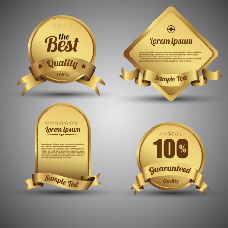 shaped shiny golden quality certification icons collection
