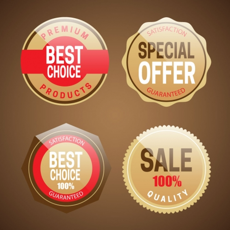 shaped shiny sales promotion icons