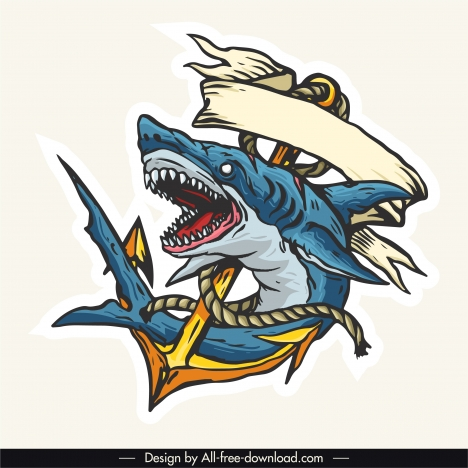 shark tattoo template colored dynamic handdrawn 3d sketch