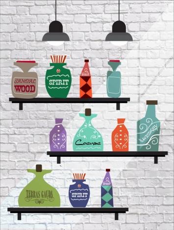 shelf decor drawing bottle icons flat retro design