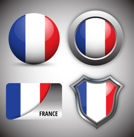 shiny france logo design sets collection