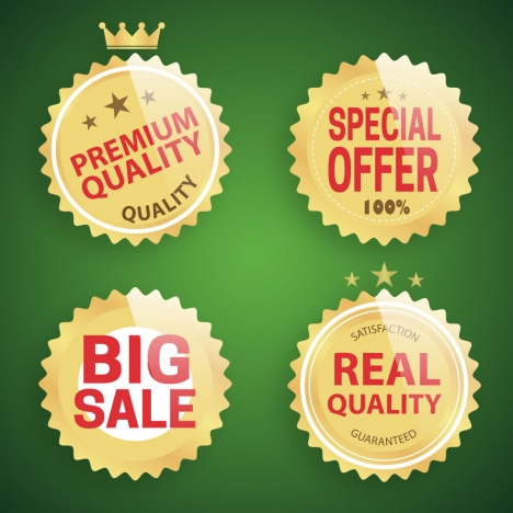shiny golden sale promotion icons on green background