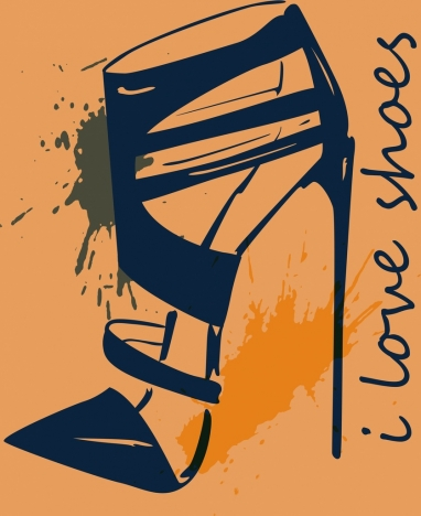 shoes advertising banner classical grunge sketch