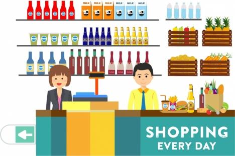 shopping banner clerk goods decor icons