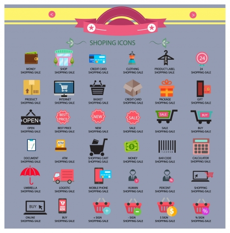 shopping icons collection design with various shapes