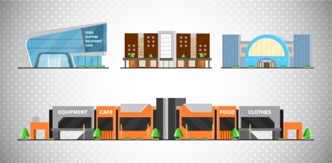 shopping mall icons illustration with colored sketch design
