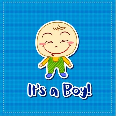 shower card template cute boy icon handdrawn design