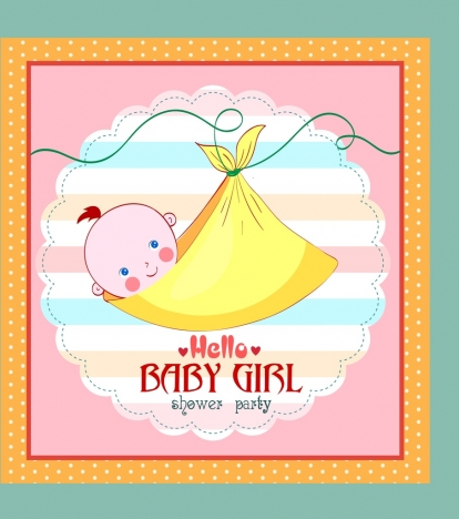 Shower Card Template Wrapped Baby Girl Icon Vectors Stock In