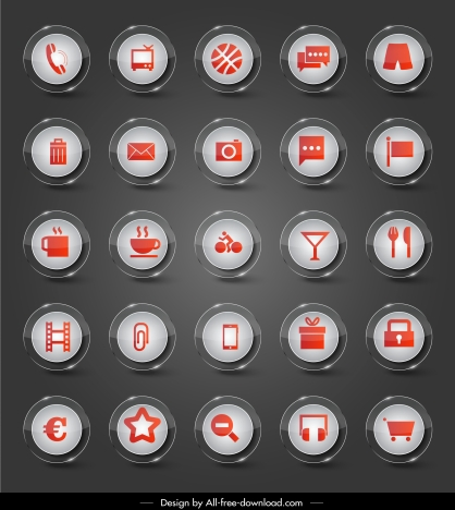 Sign icons collection shiny modern circle buttons vectors