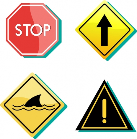 signboard collection colorful design various geometric shapes