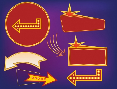 signboard collection various shapes neon stars arrow decoration