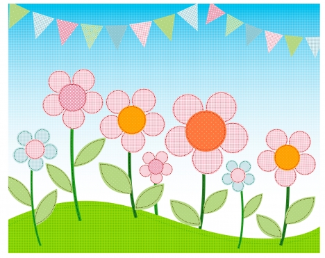simple cartoon flower landscape
