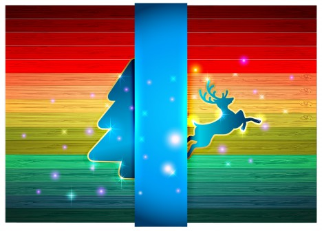 simple christmas background with deer and tree