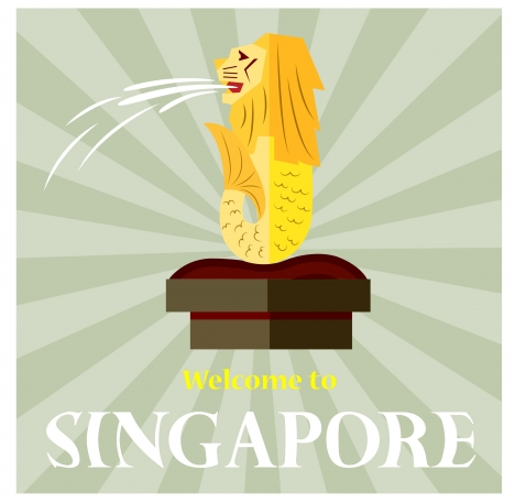 singapore promotion banner design with lion symbol