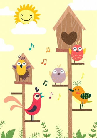 singing birds background colored cartoon design