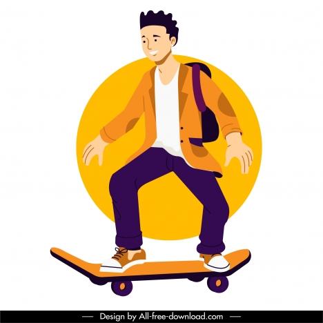 skateboard player icon dynamic cartoon character sketch