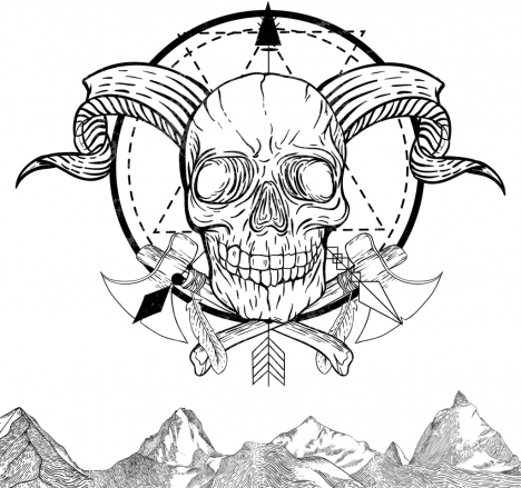 skull tattoo template black white retro sketch