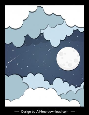 sky background cloud moon falling stars flat sketch