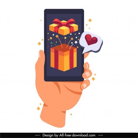 smartphone advertising background cartoon design hand giftbox sketch