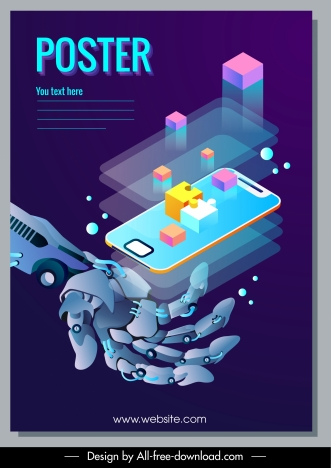 smartphone techno poster 3d dynamic blurred design