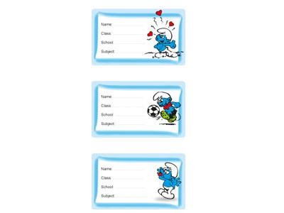 smurfs school label