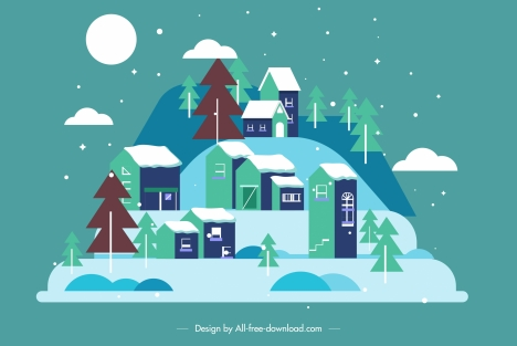 Cool Snowy Town Painting Colored Clasic Flat Sketch Vectors Stock Interior Design Ideas Skatsoteloinfo
