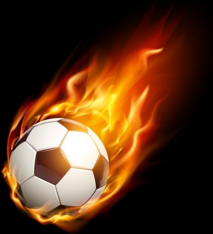 soccer background red fire ball icon realistic design vectors stock