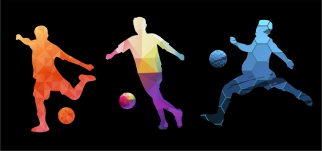 soccer player icons collection colorful silhouette poly decoration